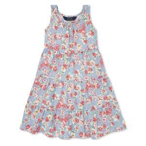 Ralph Lauren Blue Floral Tank Dress Size 5